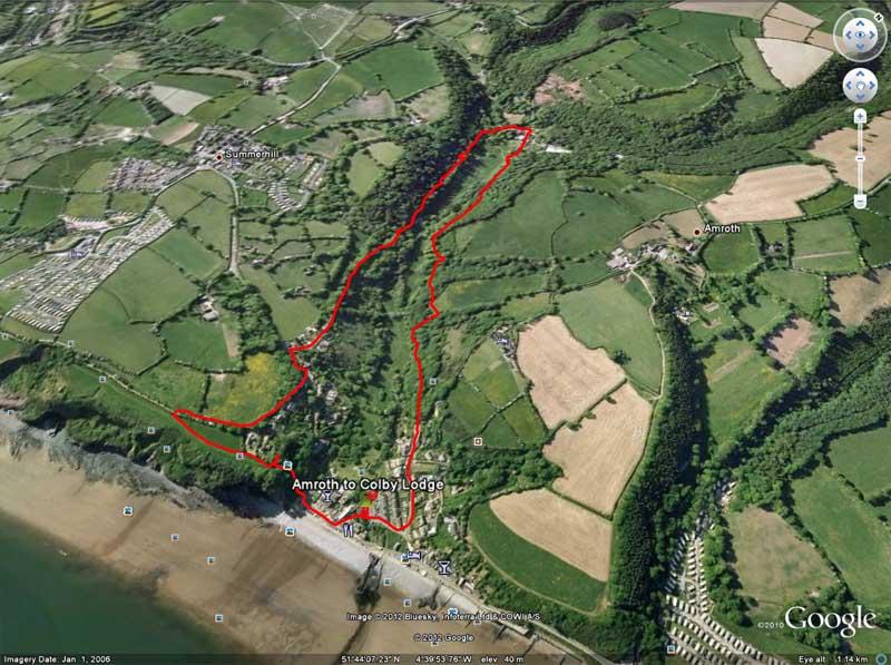 Google Earth view of walk